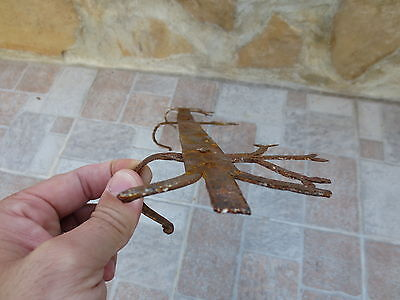 ANTIQUE 19th CENTURY Hand forged Wrough Iron Hook Hanger Old Fireplace Vintage 9