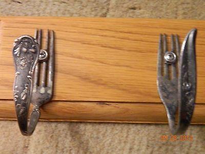 """Vintage Bent Forks Wall Coat Hat Hall Rack Homemade Craftsman 18"""" x 4"""" 5"""