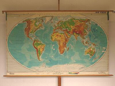 Schulwandkarte schöne alte Weltkarte Die Erde 248x145cm vintage world map ~1960 12