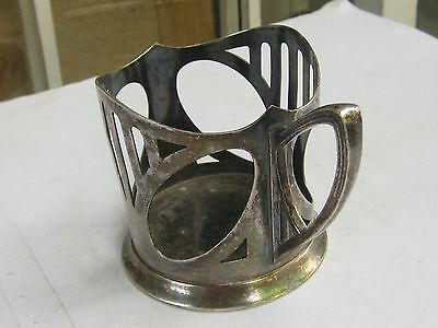 Wmf Art Nouveau Silverplate Pewter Glass Holder Marked-1900 2
