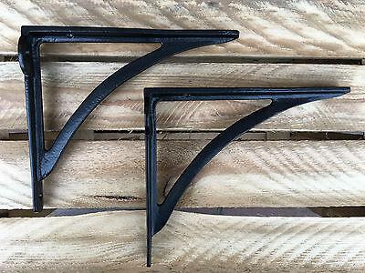 "Pair of Black 8x7"" CAST IRON VICTORIAN IRONBRIDGE SHELF BRACKETS ANTIQUE BR11bx2 2"