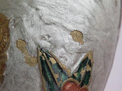 Antique Brass Cloisonne Champleve Enamel Owl Vase Trumpet Top Beautiful Birds R 10