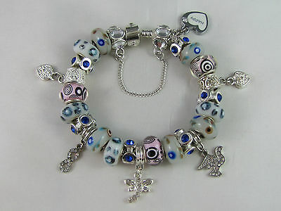 """SWEET 925 STAMPED SILVER 20cm EUROPEAN STYLE CHARM BRACELET """" MERRY PLAYGROUND """" 2"""
