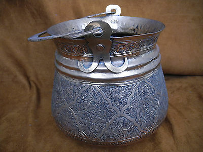 Antique Islamic Arabic Persian Copper Pail or Handled Pot with intricate work 2