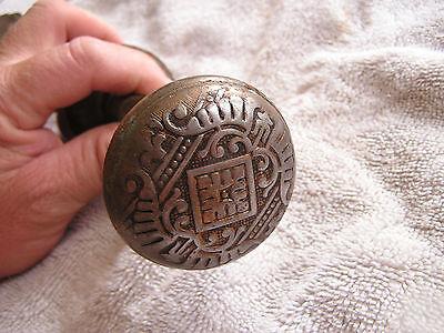 Antique Set 2 Ornate Metal Door Knobs Oval Shaped 2