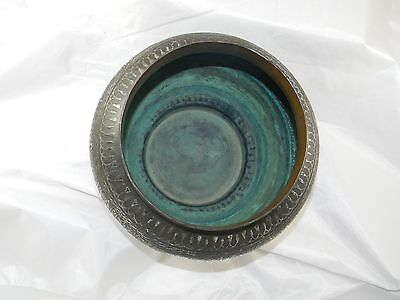 Fine Hammered Copper Silver Bowl Inlaid Egyptian Revival Syria 1920s
