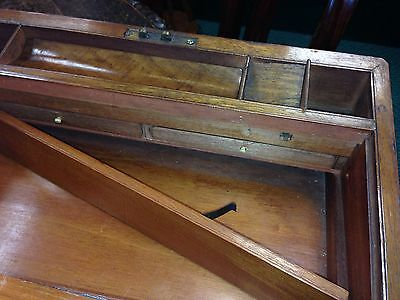Antique Brass Bound Victorian Walnut  Writing  Box Slope 6