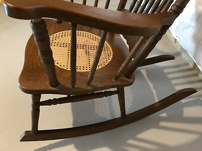 ANTIQUE VICTORIAN oak pressed back rocking chair with cane seat!  BEAUTIFUL!! 11