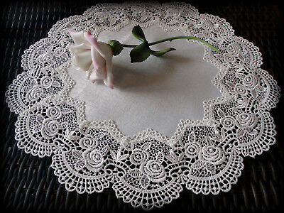 """Classic Rose Lace Doily European Round 16"""" Table Topper Antique White 3"""