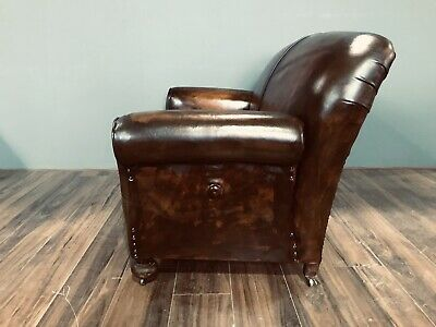 Restored Original 1920's Art Deco Club Sofas In Hand Dyed Leather 7