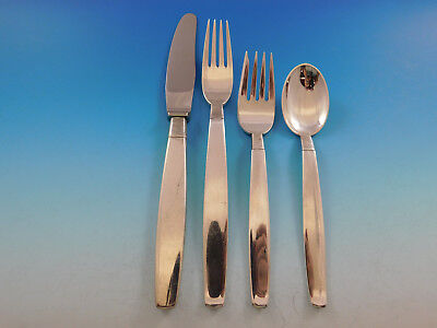 Silver Thread by Hingelberg Danish Sterling Silver Flatware Set Service 40 Pcs 3