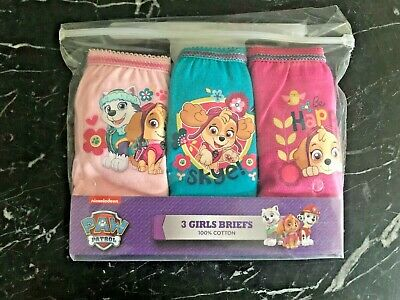 Girls Paw Patrol 3 Pack Pants Knickers Briefs Age 2-3 years Cotton Pink Aqua 3