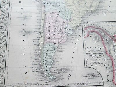 1871 ANTIQUE MAP of SOUTH AMERICA   by  S. AUGUSTUS MITCHELL 3