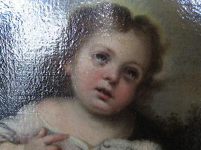 Murillo, Bartolome, Studio Of.antique Oil Christ, Lamb, Angels 5