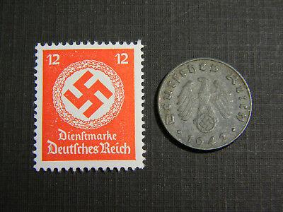 Rare WW2 German 5 Reichspfennig Coin World War Two WW2 with Scarce Red Stamp