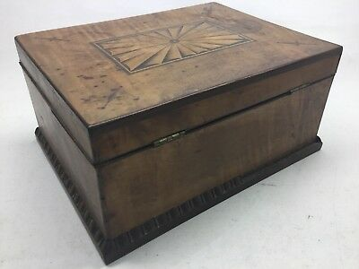 Antique Tiger Maple, Mahogany, And Satinwood Inlay Jewelry Box 7