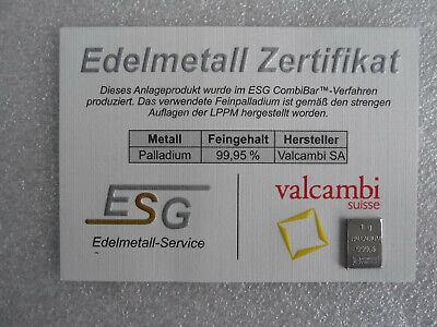 1g Palladiumbarren + Motivbox Zertifikat Platinbarren Goldbarren Silber Geschenk 4