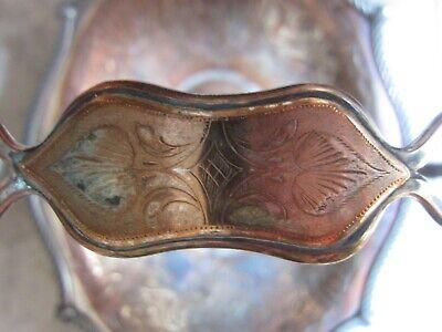 Antique 1850 Brides Basket Silver Plate On Copper 4