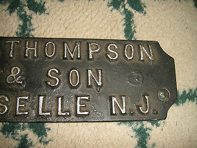Antique Steel Name Plate Wall Plaque-JH Thompson & Son Roselle New Jersey-RARE 5