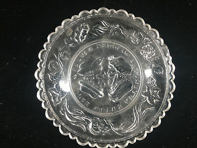 Clear Glass Antique Pressed Glass Small Plate Wedding Day Motto Sandwich 3 Weeks 7