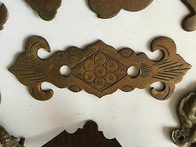 Antique Salvage Decorative Lot Of Solid Brass Cabinet Drawer Handle Cover Plates 3
