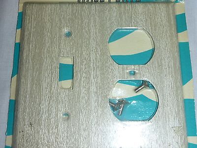 NOS Vintage Mid Century Bell Single Switch/Duplex Plate Metal Limed Oak 2