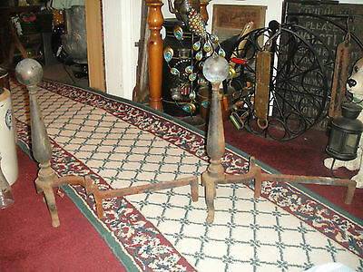 Antique Cast Iron Andirons-Sphere Ball Top-Chicken Leg-USA Made-Fireplace Insert 3
