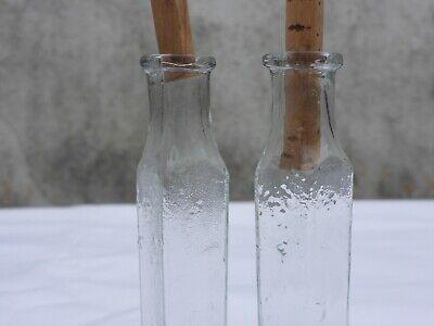 2 x alte kleine Medizin Glas Apotheke Apotheker Flasche grün lang ca. 9,5 cm 8
