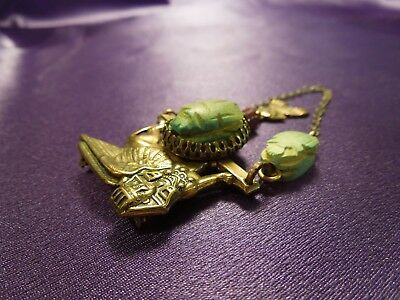 Egyptian Revival Scarab Sphinx W/ Chain Vintage Brooch Pin 4