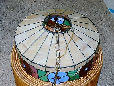 Vintage Slag Stained Glass Shade Flowers Hanging Ceiling Light Fixture Lamp 6