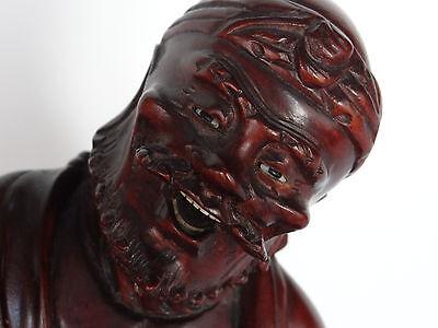 Escultura Estatuilla Japonés de Madera Hierro Ojos Sulfuro Shapes Mano 1900 C424 2