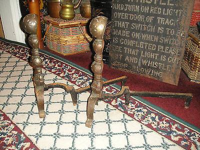 Antique Andirons-Pair-Bulbous Design-Cast Iron-Etched Footing-Fireplace Decor 2