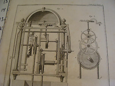 """Original engraving 1760's 10 1/2 x 16"""" Horlogerie Reveil a Poids 3"""