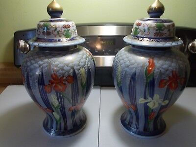 "Two Beautiful Large 14"" Porcelain Urns & Large Wall Plaque 4"