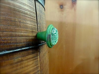 2 GREEN-WHITE LACE GLASS DRAWER CABINET PULLS KNOBS VINTAGE DISTRESSED hardware