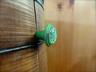 6 GREEN-WHITE LACE GLASS DRAWER CABINET PULLS KNOBS VINTAGE DISTRESSED hardware 8