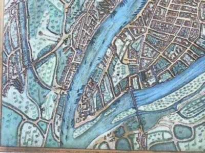 Old Antique Historic Map Lyon, France: 1572 Braun & Hogenberg REPRINT 1500's 4