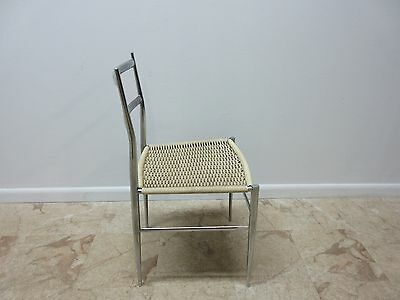 Vintage Mid Century Chrome Italian Ladder Back Dining Side Desk Chair 7