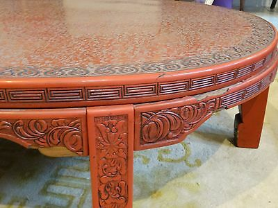 ANTIQUE LATE 19 c. CHINESE LACQUER INTRICATE CARVED CINNABAR COFFEE TABLE 5