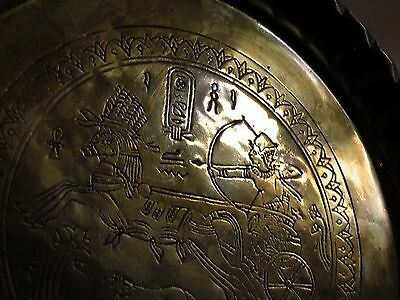 AIA414 BRASS ANCIENT EGYPT REPRODUCTION  TRAY, engraved chariot & horse design 3