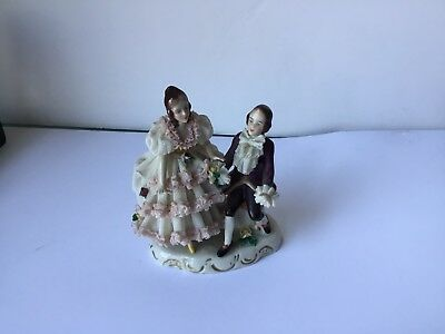 Antique Dresden Porcelain Figurines, Vintage, Stamped, Perfect State, Rare Piece 2