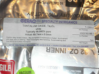 "Tantalum Oxide Ta2O5 white 99.995% pure 1lb 16oz  3.5"" round disc sealed Cerac 5"
