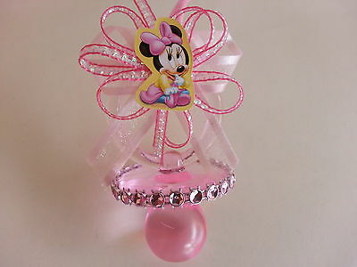 12 Minnie Mouse Pink Pacifier Necklaces Baby Shower Game Favors
