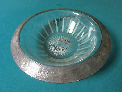 Antique Sterling  Etched Glass Footed Dish Coasters Bowl Cake Plate Shaker Pick 8