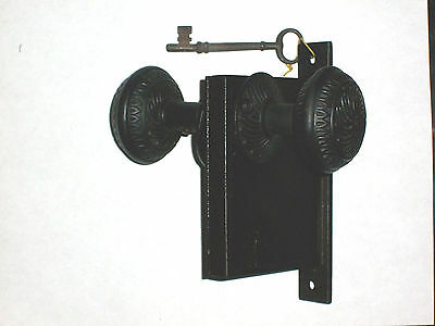 Antique Mortise Lock Patented July 2, 1863 With Knobs, Rosettes, and Key