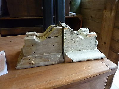 GREAT pair SMALL dentil style VICTORIAN corbel brackets CRUSTY white paint 9 x 7 10