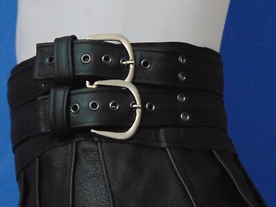 XS-XXXL*Gladiator Skirt Kilt  Schwarz 2 Gürtel & Schnallen Echt Leder Larp NEU 9