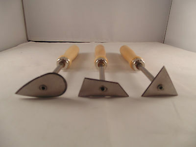 POTTERY CLAY MAKING WOODEN HANDLE TURNING TOOLS 152mm SET of 3 RRP £19.99
