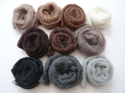 Heidifeathers® 'Menagerie Mix' 10 blended Natural Wool Slivers - Felting Wools 3