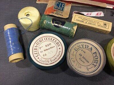 Lot anciennes aiguilles à tricoter et fil de couture broderie mercerie vintage 2